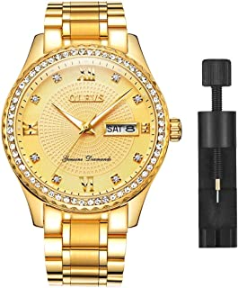 OLEVS Luxury Men's Stainless Steel Gold/Blue/White/Black Dial Diamond Quartz Wrist Watches, Waterproof & Luminous & Date-Day Windows, Father's Day Gift Watches