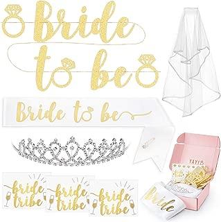 xo, Fetti Bachelorette Party Bride To Be Decorations Kit - Bridal Shower Decorations   Sash For Bride, Rhinestone Tiara, Gold Glitter Banner, Veil + Bride Tribe Tattoos