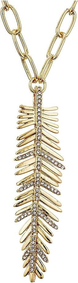LAUREN Ralph Lauren - 32 Inches Gold Pave Feather Pendant Necklace
