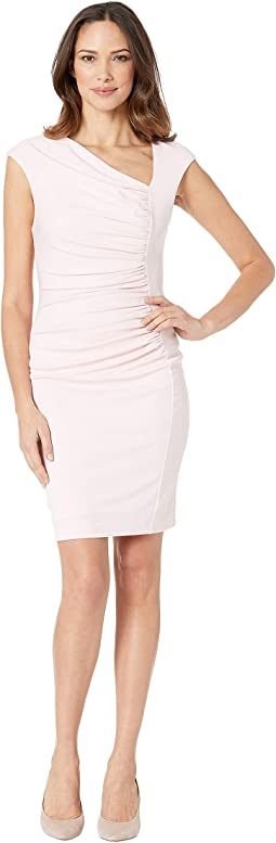 Brooke Asymmetric Ponte Ruched Sheath Dress