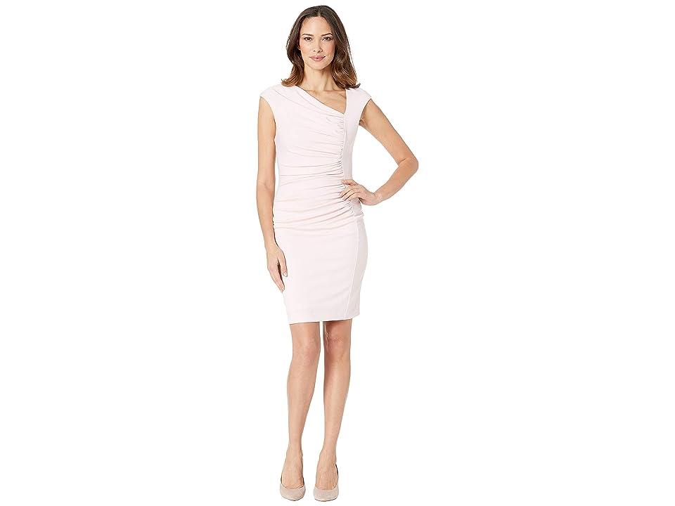 Image of ALEXIA ADMOR Brooke Asymmetric Ponte Ruched Sheath Dress (Blush) Women's Dress