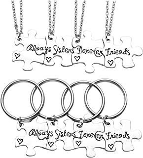 "Silver ""Always Sisters Forever Friends"" Jigsaw Puzzle Piece Pendant Best Friends Necklaces BBF Friendship Keychain"