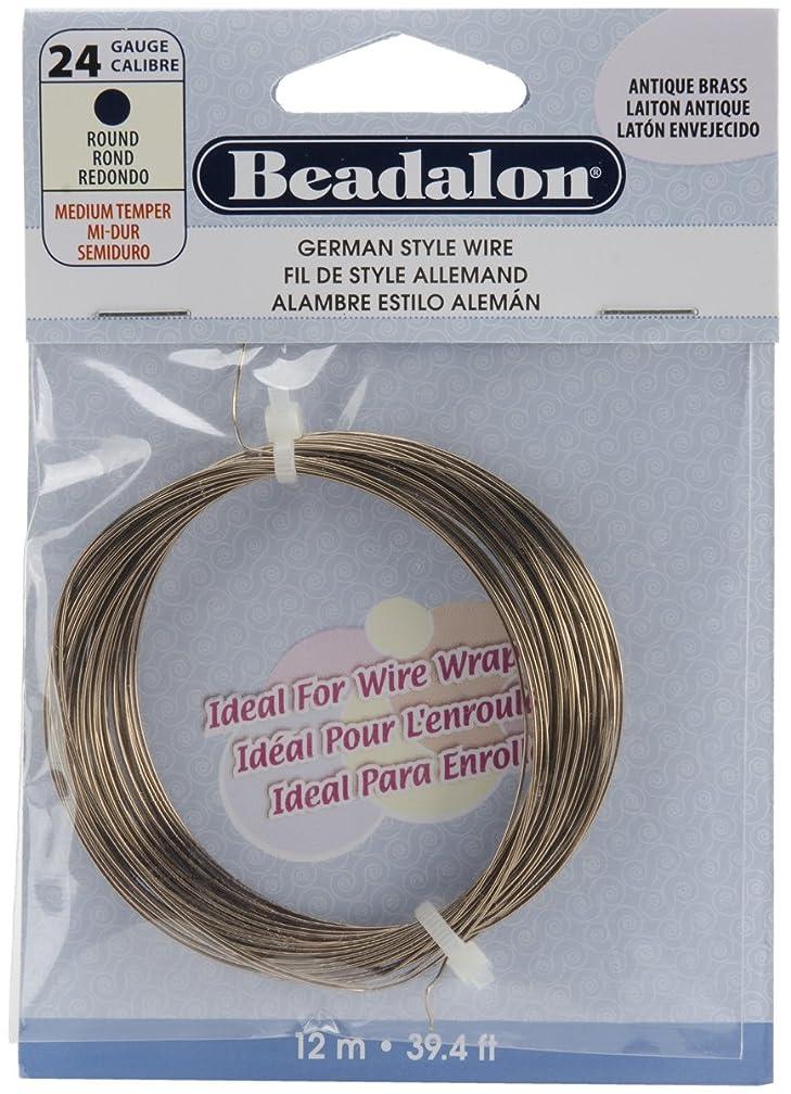Beadalon 180R-024 24 Gauge Round Wire, Antique Brass, 12-Meter