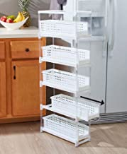 Slim Kitchen Storage with Five Slide-Out Drawers for Pantries, Gaps, Bathrooms
