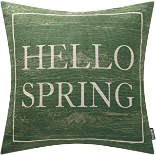TRENDIN Wooden Hello Spring Pillow Cover 18x18 inch for Home Decor Cotton Linen Vintage PL424TR