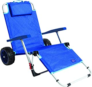 Mac Sports 2-in-1 Outdoor Beach Cart + Folding Lounge Chair w/Lock   Tanning, Sunbathing, Lounging, Pool, Backyard, Porch   Portable, Collapsible with All-Terrain Wheels   Blue w/Lock