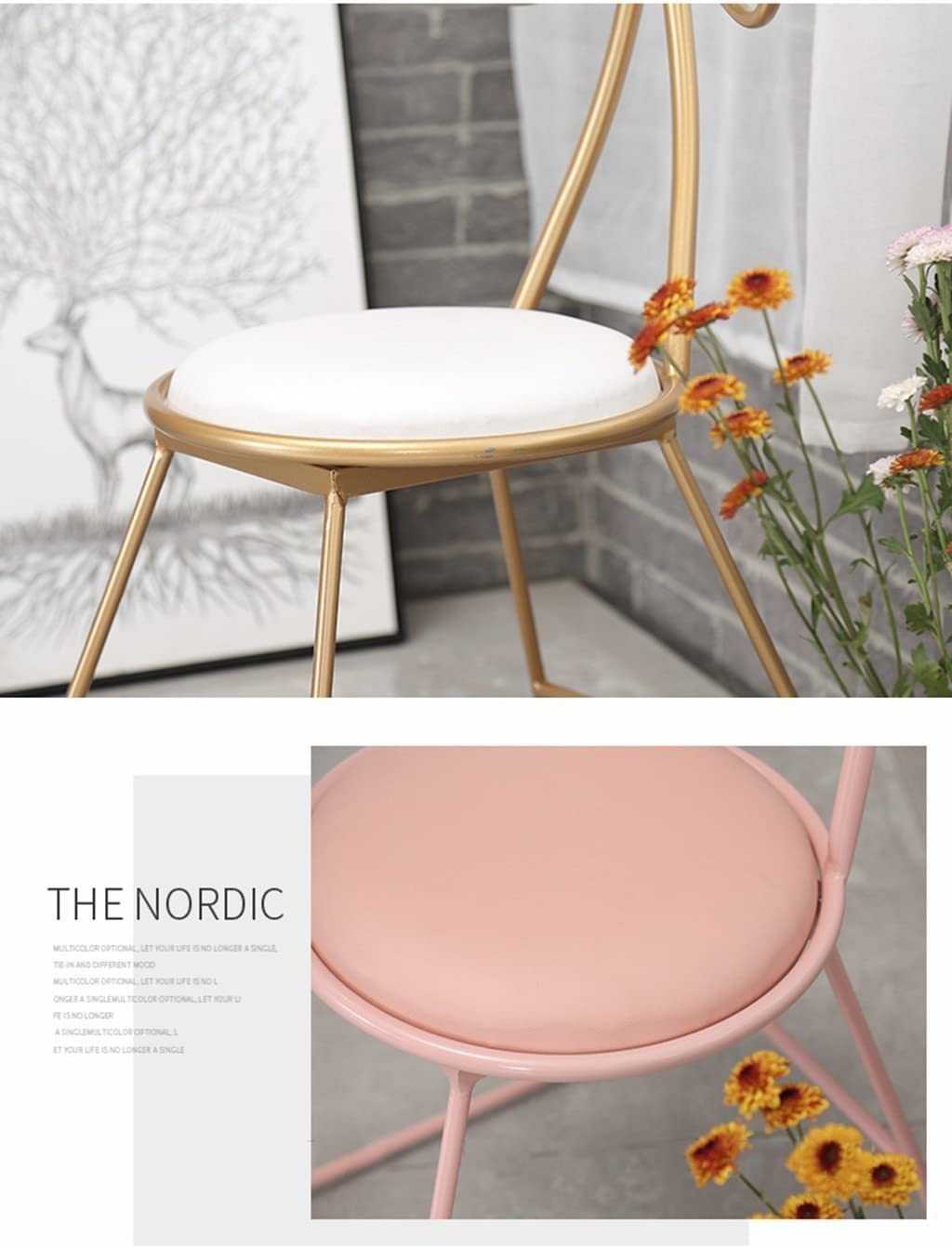 Iron Art Maquillage Chaise, Chambre Bow Chaise Restaurant Dossier Dressing Chaise Or Rose Nail Chair 38 * 48 * 82 CM (Couleur : Or) Blanc