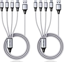 Multi Charging Cable, Multi USB Cable 3A 4FT USB Charging Cable Nylon Braided Universal 4in1 Multi Charger Cable Adapter T...