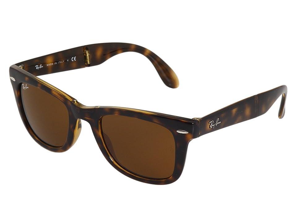 Retro Sunglasses | Vintage Glasses | New Vintage Eyeglasses Ray-Ban RB4105 Wayfarer Folding 50mm Shiny AvanaB-15xlt Lens Plastic Frame Fashion Sunglasses $153.00 AT vintagedancer.com