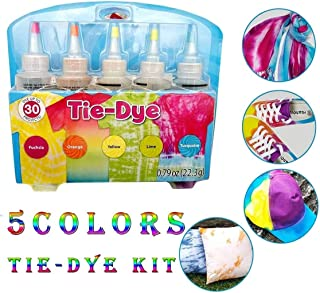 Tie Dyes DIY Kit, 3/5/24 Colors Tie Dye Shirt Fabric Dye for Women, Kids, Men, with Rubber Bands, Gloves, Dyeing Fabric Tie-Dye Kit,DIY Pigment Toy - Fabric Textile One-Step Tie-Dye Kit (5 Colors-a)