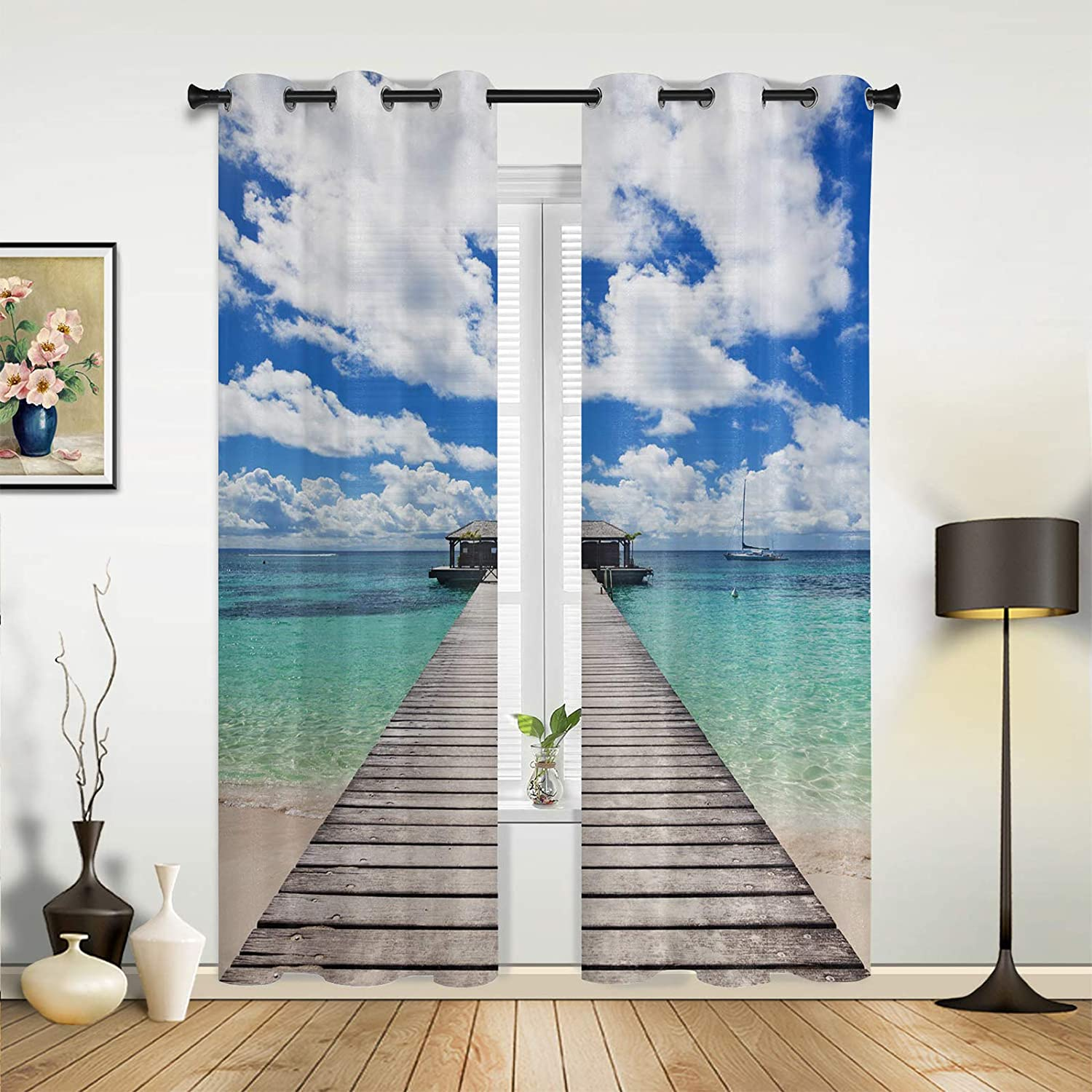 Beauty Decor Window Sheer Curtains excellence Ocean Living Bedroom Room 67% OFF of fixed price for