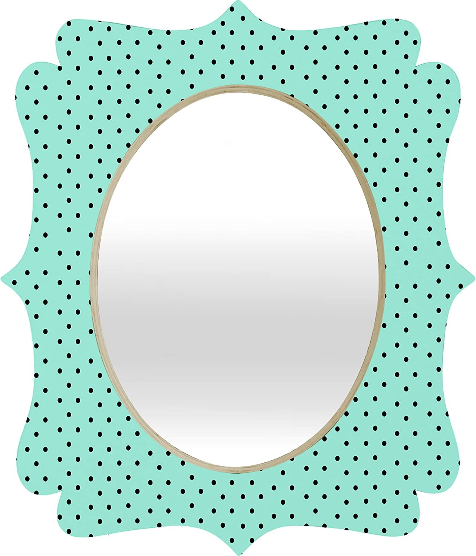 DENY Designs Allyson Johnson Minty bluee Polka Dots Quatrefoil Mirror, 17 x 14
