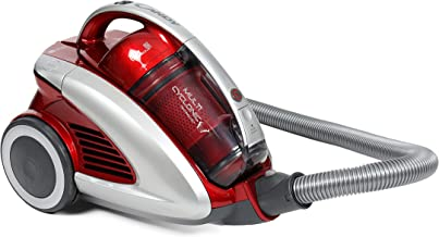 Candy 1400W Curve Bagless Vacuum Cleaner, Red/Silver, Telescopic Metal Pipes, 5Mtr Cable, 2in1 Tool, Parquet CCU1410 001