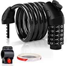 Combination Bike Lock Cable with Holder and Reflective...