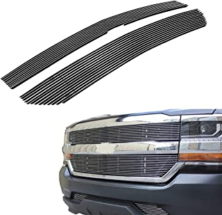 PARTS-DIYER Compatible With 2016-2018 Chevy Silverado 1500 Polished Aluminum Horizontal Billet Grille Insert Grill 2pcs