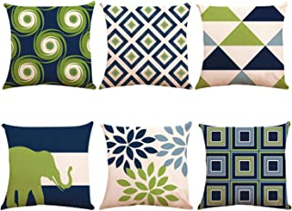 Decorative Throw Pillow Covers 16 x 16 Inch Double Side Design,ZUEXT Set of 6 Geometric Cotton Linen Indoor Outdoor Pillow Case Cushion Cover for Car Sofa Home Decor(Navy Pear Green New Living Series)