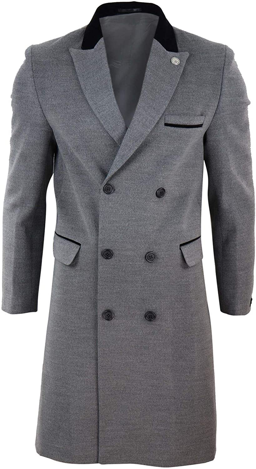 1920s Men's Fashion: What did men wear in the 1920s? TruClothing.com Mens 3/4 Long Double Breasted Crombie Overcoat Jacket Wool Coat Blinders £74.99 AT vintagedancer.com