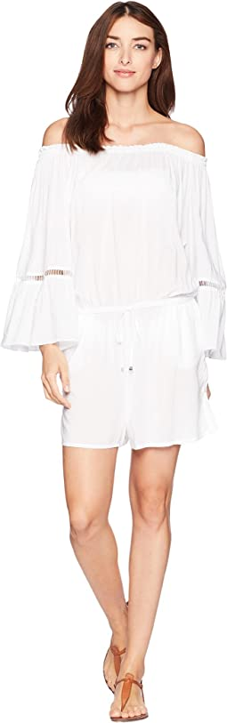 Solids Off the Shoulder Romper Cover-Up w/ Inset Ladder Trim