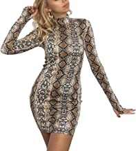 VWIWV Women's Sexy Long Sleeve Snakeskin Print Bodycon Club Mini Dress