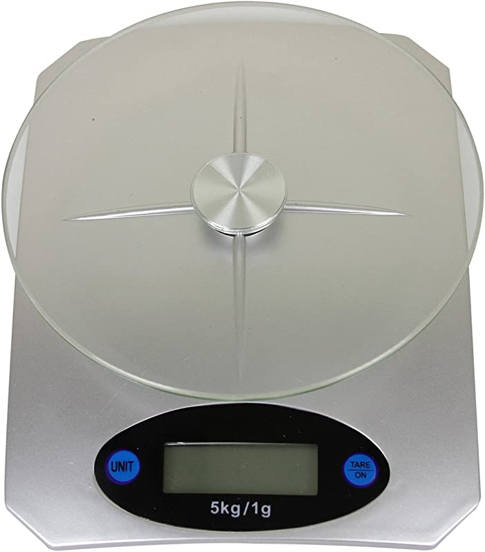 Evelyne Digital Kitchen Scale For Measuring Food Portion LCD Display With Glass Top Platform