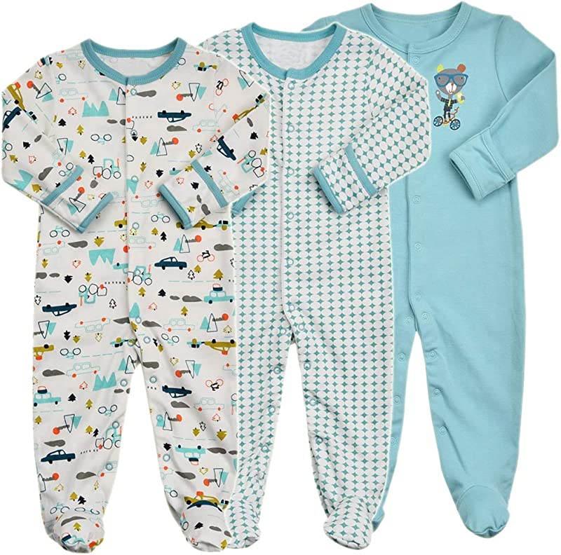 Baby Footed Pajamas With Mittens 3 Packs Infant Girls Boys Footie Onesies Sleeper Newborn Cotton Sleepwear Outfits