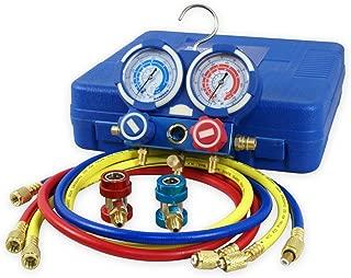 ZENY Diagnostic A/C Manifold Gauge Set R134a Refrigeration Kit Brass Auto Serivice Kit 4FT w/Case, 1/4