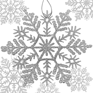 BANBERRY DESIGNS Large Silver Snowflake Ornaments - Set of 8 Assorted Sized Glittered Snow Flakes with Strings Attached - Hanging Glitter Snow Flakes – Assorted Large and Small Sizes