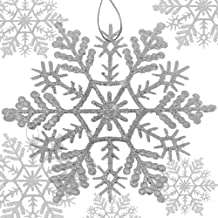 BANBERRY DESIGNS Silver Snowflake Ornaments - Set of 8 Assorted Sized Glittered Snowflakes with Strings Attached -