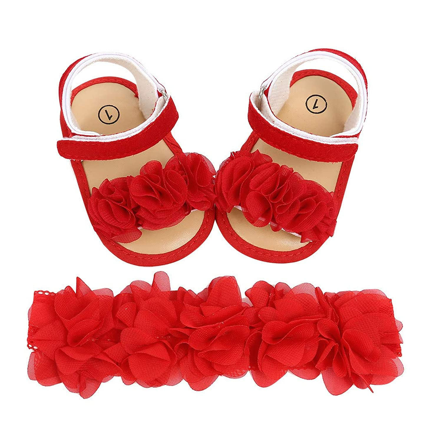 ?? Mealeaf ?? Newborn Baby Girls Boys Hairband +Flower Sequins Sandals First Walkers Shoes(Red,11)