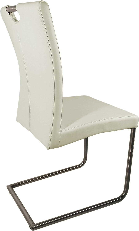 Meubletmoi Lot de 2 chaises Design de Salle à Manger en Simili Cuir/Piétement chromé Haute qualité – Collection Sophie – Blanc Gris