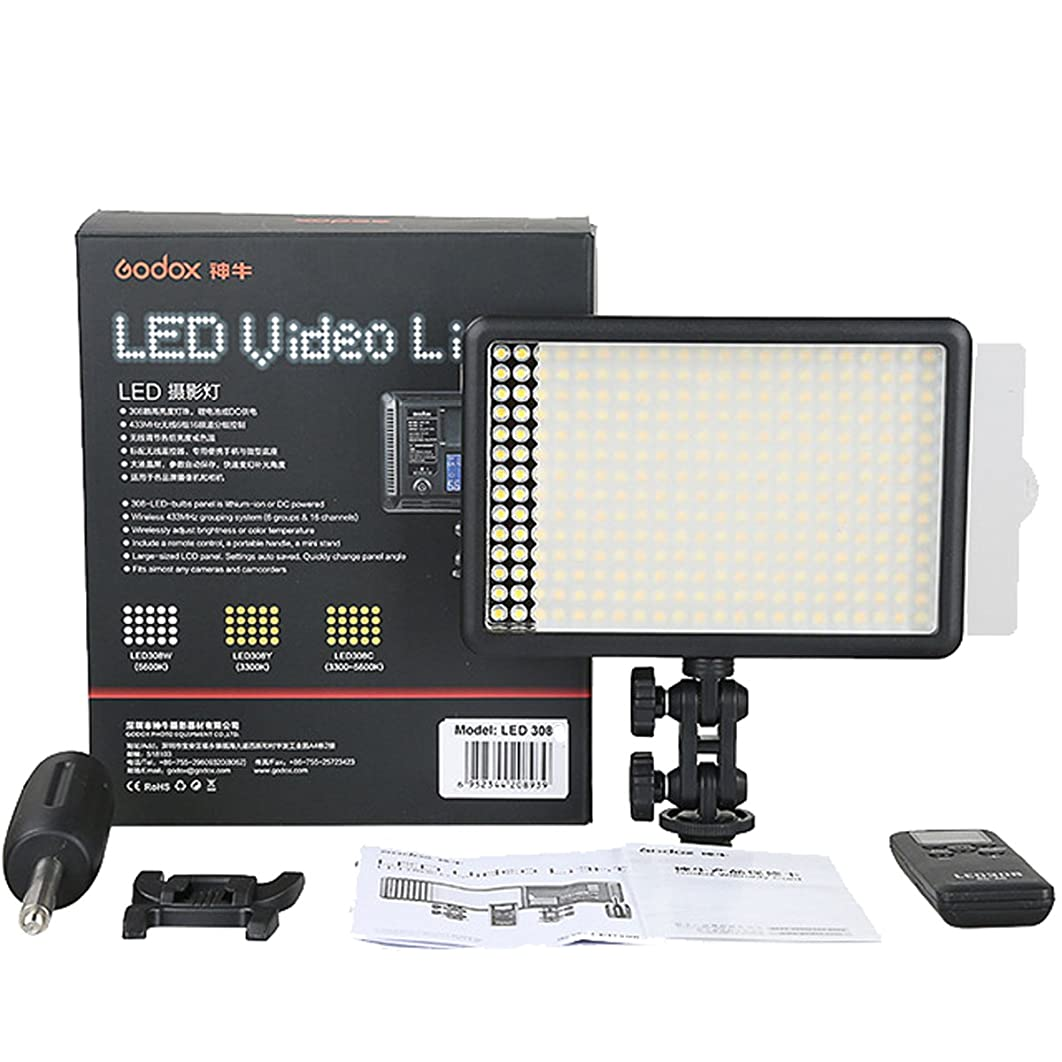Godox LED308C Spot Video Light Lamp Panel for Camera Camcorder DV Photo Remote