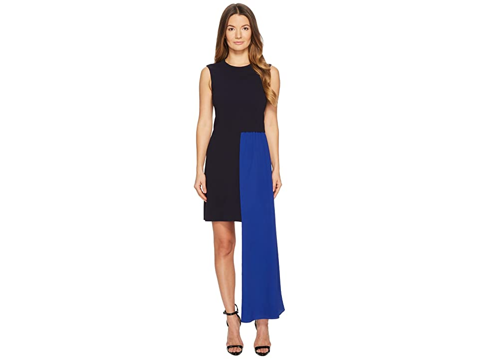 Neil Barrett Fall Away Scarf Light Stretch Crepe Dress (Dark Navy/Cobalt) Women