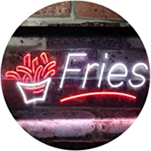 French Fries Fast Food Display Open Dual Color LED Neon Sign White & Red 400 x 300mm st6s43-i3148-wr