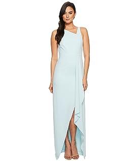 Sleeveless Asymmetrical Neck Gown w/ Flowy Drape