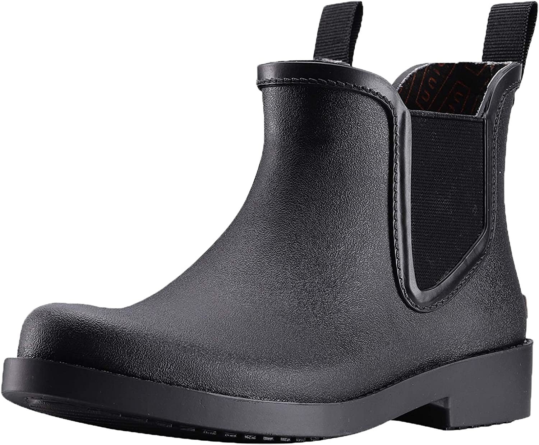 Houston Mall UNICARE Ankle Rain Boots Long Beach Mall Womens Chelsea Rubber Waterproof Short