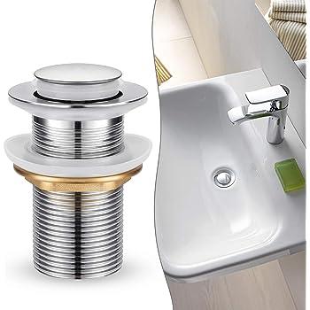 Eridanus desag/üe de lavabo de Pop Up Push Open para lavabo con rebosadero fregadero v/álvula de vaciado en lat/ón Color Oro Rosa