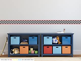 Racing Stripe Border Fabric Wall Decal - NASCAR Inspired Checkerboard Wall Sticker - Set of Two 24