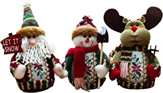3PCS Christmas Decor Dolls Santa Claus Snowman Reindeer Hanging Ornaments Table Decorations Gift Set C