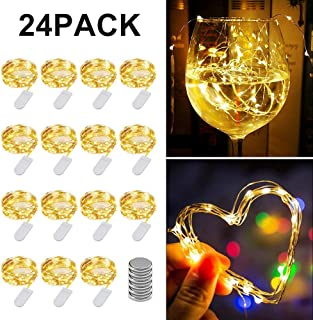 Fairy String Lights, KOMAKE 24 Pack Fairy Lights Battery Operated Jar Lights, 7ft 20LED Christmas Lights Silver Coated Copper Wire Lights Firefly Starry Lights for DIY Decor, Wedding, Party, Christmas