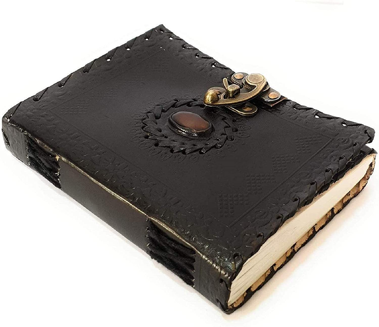 Tuzech Handmade Pure Leather Diary Leather Journal for Men and Women -Office Home Daily Use, Poem Writing with Lock Diary 7 Inches and Luck Stone (Black)