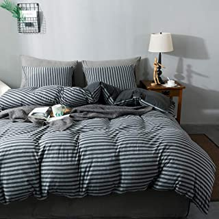 Sincethen Jersey Knit Cotton Duvet Cover Set 3 Pieces, 1 Duvet Cover and 2 Pillow Cases, Simple Striped Design, Super Soft Bedding Set and Easy Care (Queen, Charcoal & Grey Stripe)