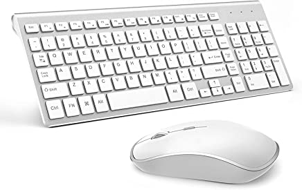 Wireless Keyboard and Mouse Combo, 2.4G Slim Wireless Keyboard Mouse-Portable, Full Size, Ergonomic, 2400 DPI,Extreme Power Saving,Sleek Design-White+Silver