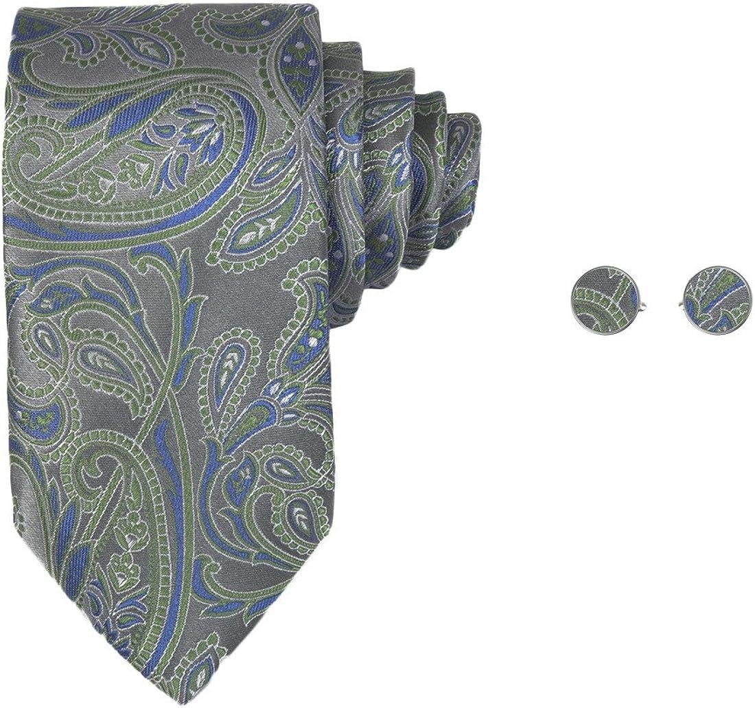 Y&G Men's Fashion Multi-Colored Patterns Ties Comfort Mens Silk Tie Cufflinks Set 2PT