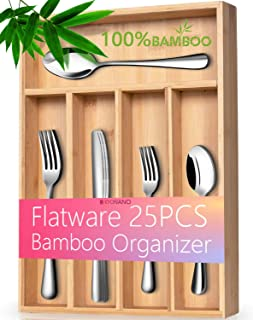 KYONANO Silverware Set with Organizer, 25- Piece Cutlery Flatware Utensil Set with Heavy-Duty Bamboo Utensil Drawer Organizer, Dishwasher Safe Tableware Incl. Knife/Fork/Spoon, Mirror Polished