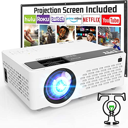 TMY Projector with 100 Inch Projector Screen, 1080P Full HD Supported Video Projector, Mini Movie Projector Compatibl...