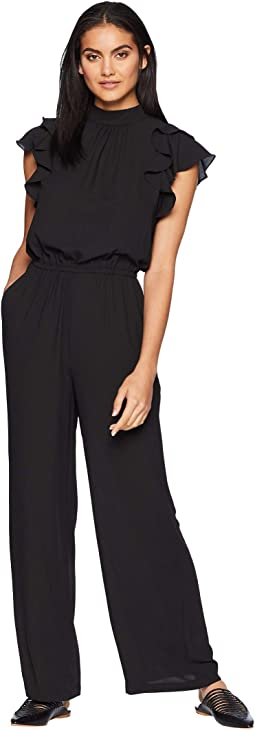 Flutter Sleeve Mock Neck Jumpsuit