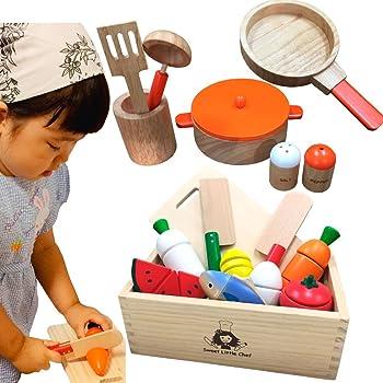 木製 ままごと サクッと切れるままごと クッキングセット 木箱入り 木のままごと マグネット 鍋 フライハ゜ン CK