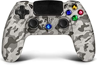 Wireless Controller for PS4,Proslife Game Controller for Playstation 4/Pro/Slim Consoles Touch Panel Joypad with Dual Vibration,Wired Gaming Remote for PS3/PC Windows via USB Cable-Gray Camouflage