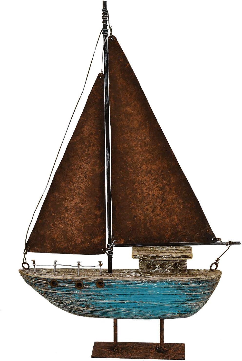 Rustic Wood Sailboat Decor Tabletop Nautical Decor, Wooden Sailboat Nautical Decoration Beach Themed Decoration Coastal Decor Sailboat Decoration for Home Mediterranean Decor (Blue)