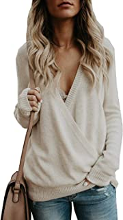 Hount Women's Deep V Neck Long Sleeve Sweater Casual Knitted Wrap Front Pullover Jumper Tops